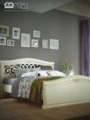 Dormitor Beatrice alb cu auriu din lemn masiv