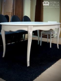 Masă albă MDF cu picioare din lemn
